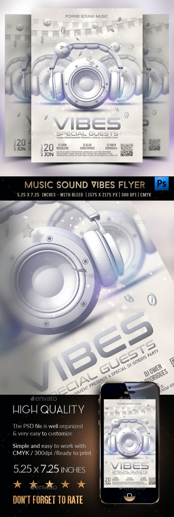 Music Sound Vibes Party Flyer - Clubs & Parties Events