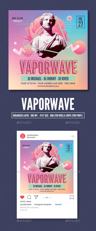 Vaporwave Party Flyer Template