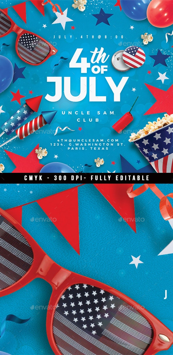 4th Of July Usa Flyer Party - Events Flyers