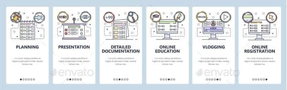 Mobile App Onboarding Screens Online Education - Miscellaneous Conceptual
