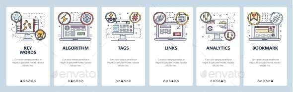 Mobile App Onboarding Screens SEO Links Building - Web Technology