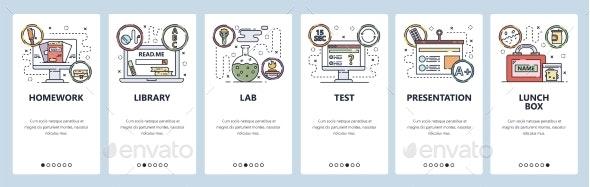 Mobile App Onboarding Screens School Education - Web Elements Vectors