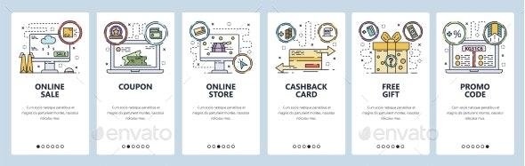 Mobile App Onboarding Screens Online Shopping - Web Technology
