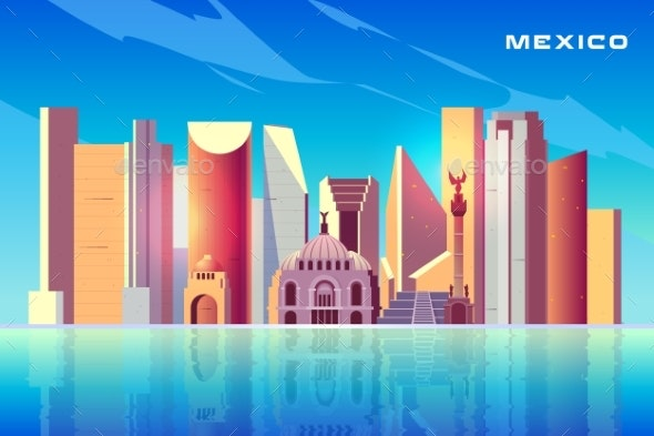Mexico City Skyline Cartoon Vector Background - Buildings Objects