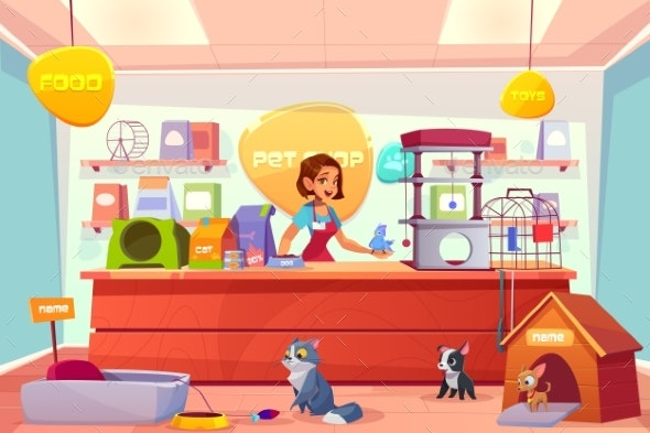 Buying Animals in Pet Store Cartoon Vector Concept - Retail Commercial / Shopping