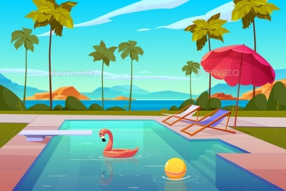 Swimming Pool in Hotel or Resort Outdoors Summer - Sports/Activity Conceptual