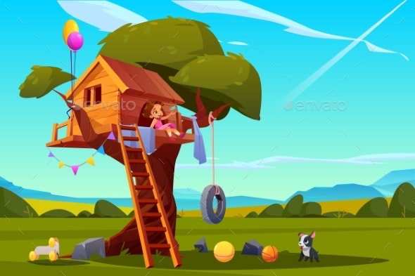 Child on Tree House - People Characters