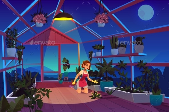 Woman in Greenhouse at Night Time Care of Plants - Flowers & Plants Nature