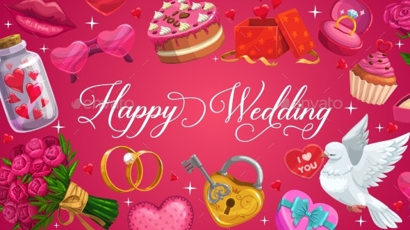 Happy Wedding Calligraphy Save the Date Hearts - Weddings Seasons/Holidays