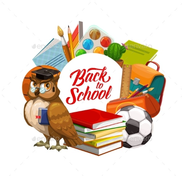 Back To School Owl with Books and Study Supplies - Miscellaneous Vectors