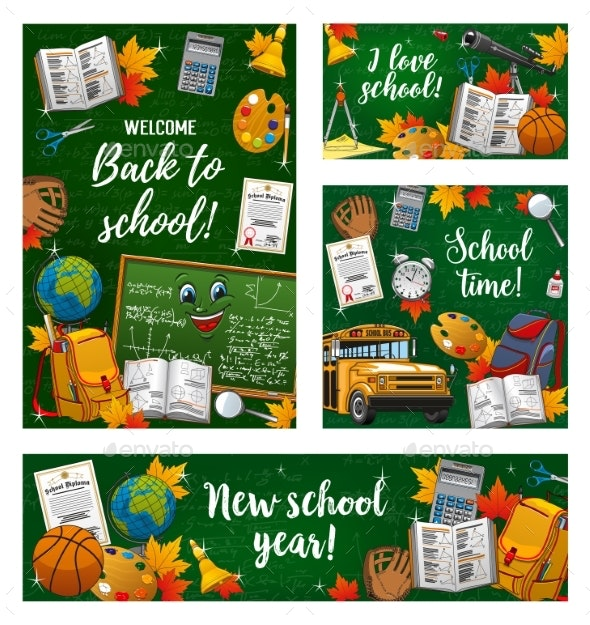 Back To School Student Books on Green Chalkboard - Miscellaneous Vectors