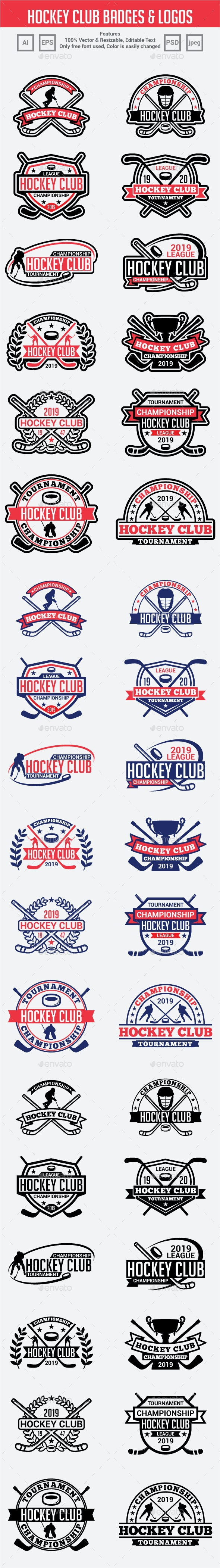 Hockey Club Badges & Logos - Badges & Stickers Web Elements