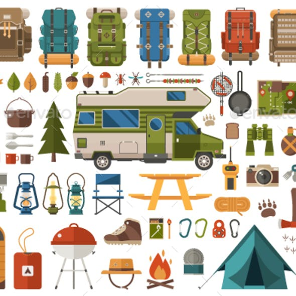 Camping and Hiking Design Elements