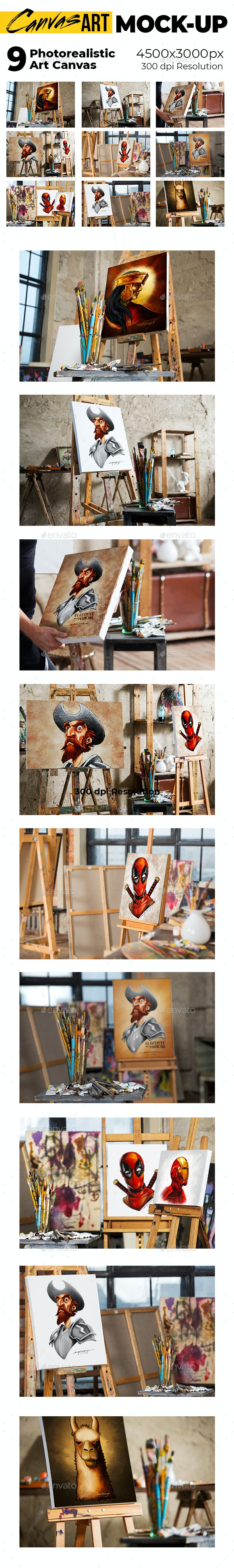 Canvas Photorealistic Mock-up - Product Mock-Ups Graphics
