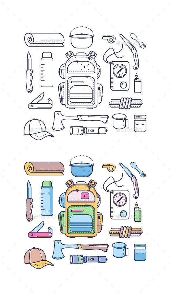 Hiking and Adventure Icons - Sports/Activity Conceptual