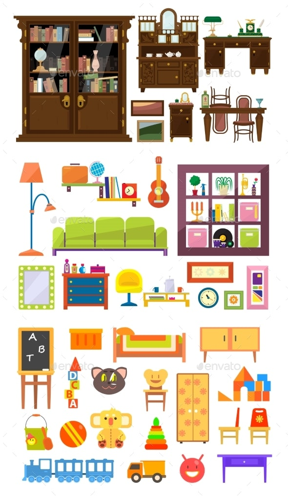 Collection of Home Furniture - Man-made Objects Objects