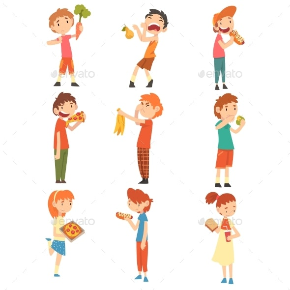 Children Do Not Like Vegetables and Fruits Set - People Characters
