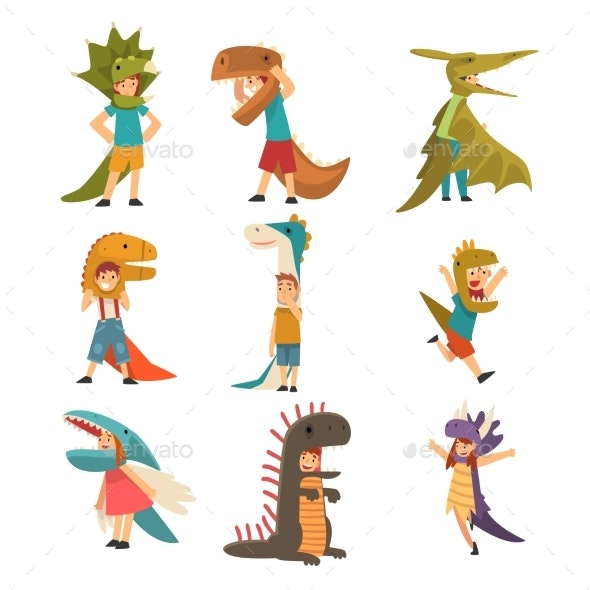 Collection of Kids in Costumes of Dinosaurs - People Characters