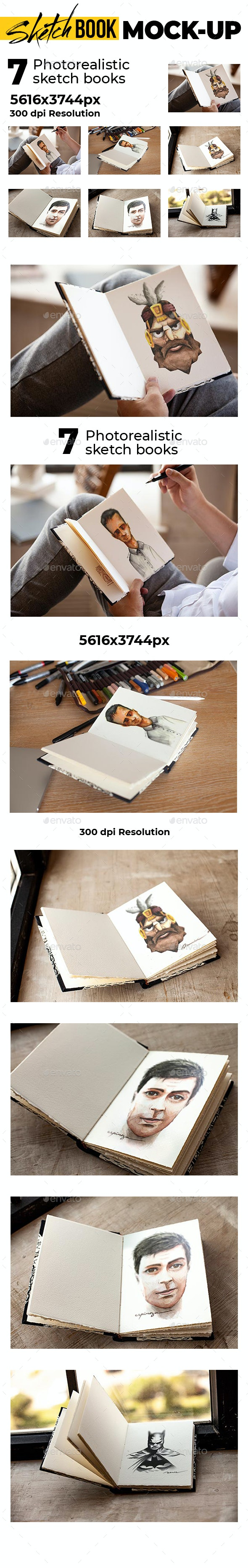 Sketch Book Photorealistic Mock-up - Product Mock-Ups Graphics