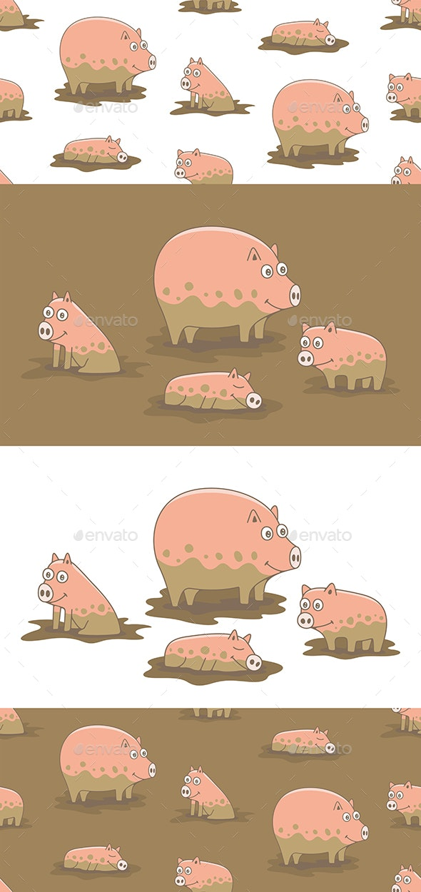 Set of Pigs and Pattern - Animals Characters
