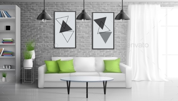 Apartment Living Room Realistic Vector Interior - Backgrounds Decorative