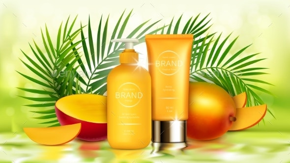 Tropical Mango Cosmetics Realistic Vector - Health/Medicine Conceptual