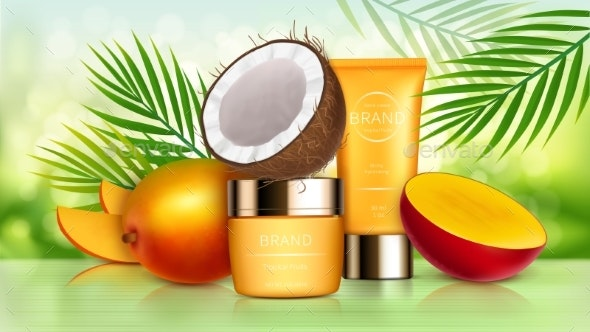 Tropical Mango and Coconut Cosmetics - Health/Medicine Conceptual