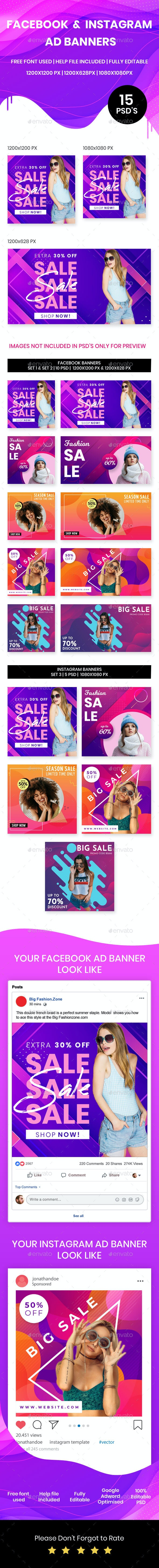 Facebook & Instagram Fashion AD Banners - Banners & Ads Web Elements