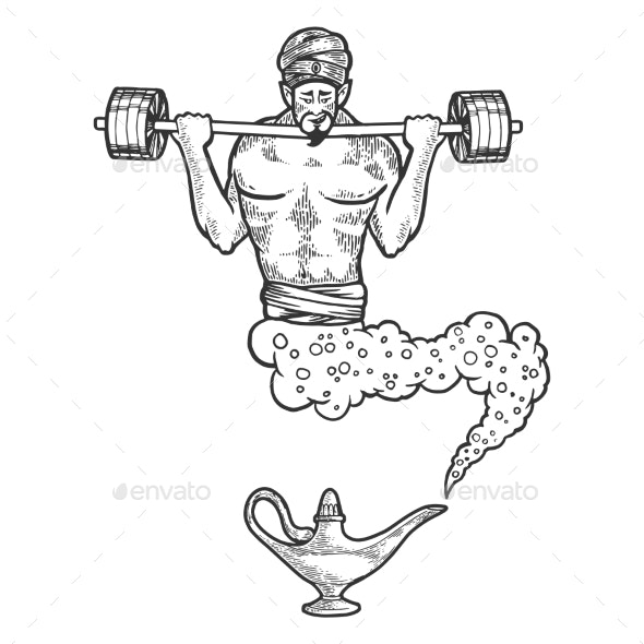 Magical Genie with Barbell Sketch Engraving Vector - Sports/Activity Conceptual