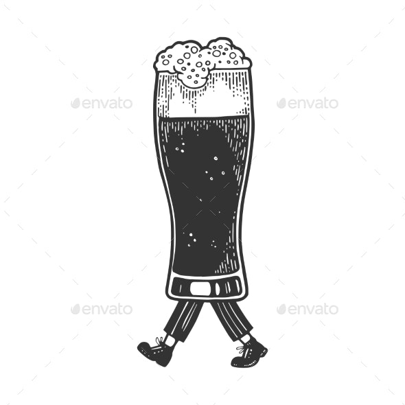 Beer Glass Cup Walks on Its Feet Sketch - Miscellaneous Vectors