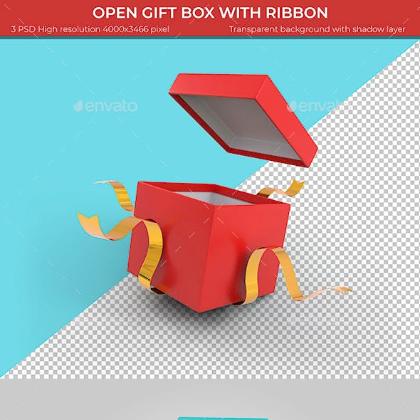 Open Gift Box with Ribbon