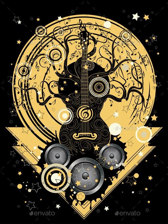 Guitar Tree Music Poster - Miscellaneous Vectors
