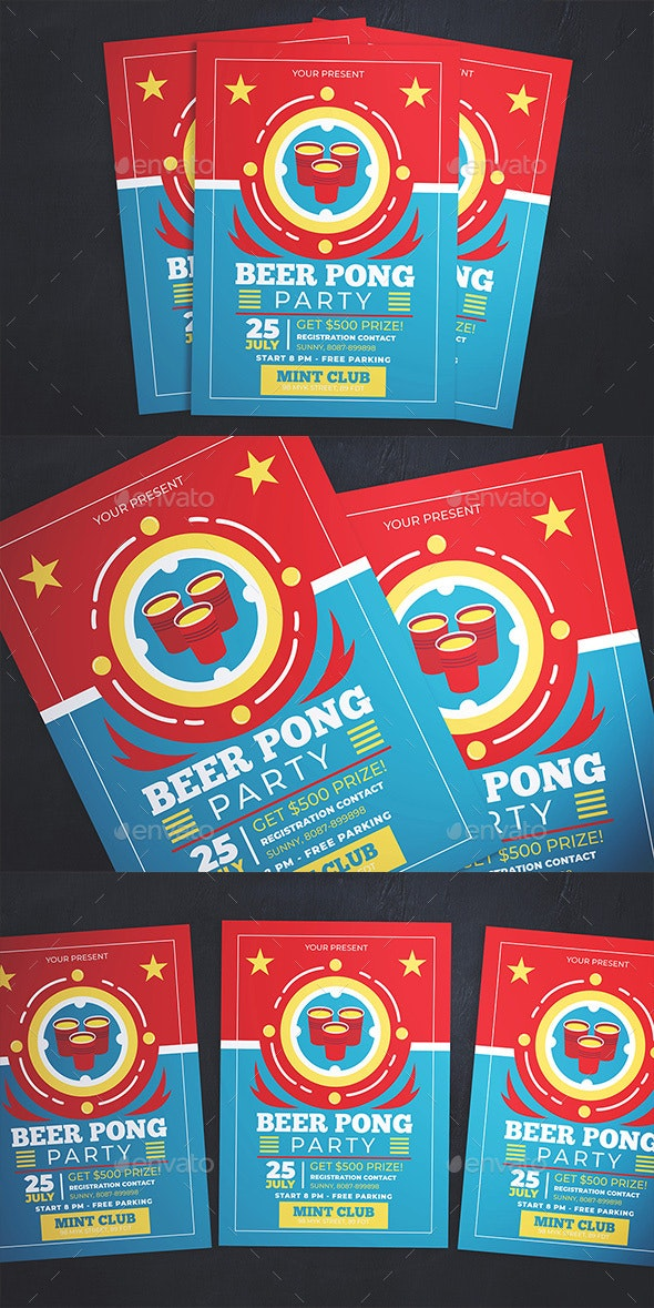 Beer Pong Party Flyer - Flyers Print Templates