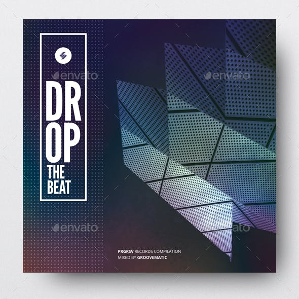 Drop The Beat - Electronic Music Album Cover Artwork Template