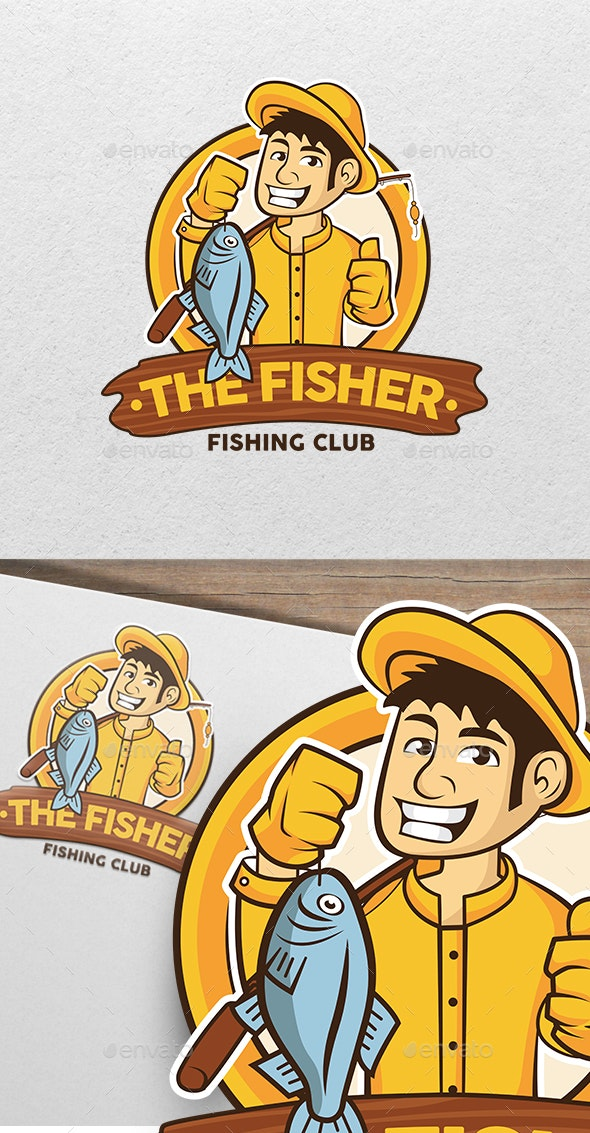 The Fisherman - Fishing Character Mascot Logo - Humans Logo Templates