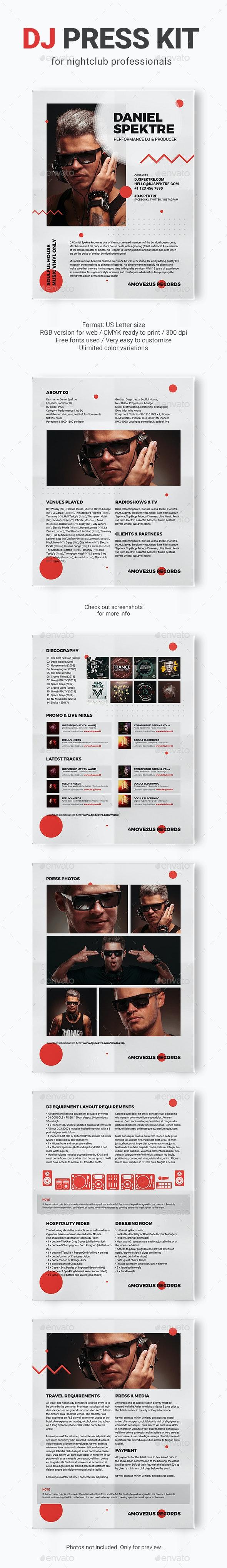 Spektre - DJ Press Kit / DJ Resume / DJ Rider PSD Template - Resumes Stationery