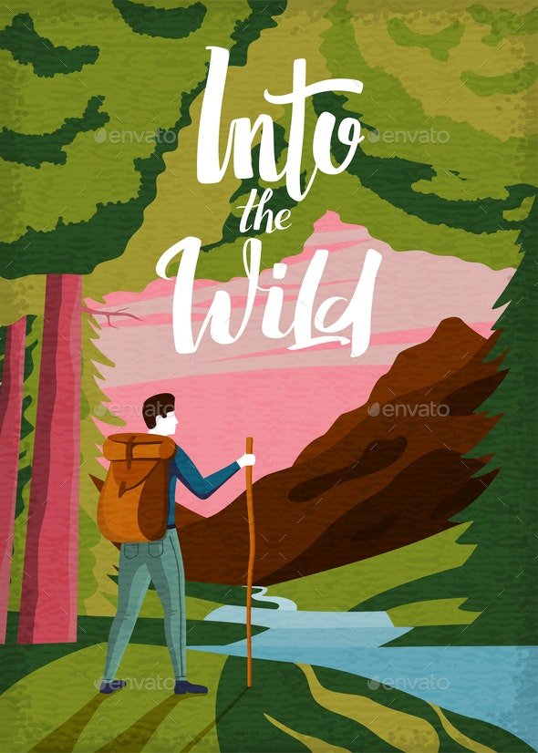 Vector Vintage Poster Hiking in the Wild - Travel Conceptual