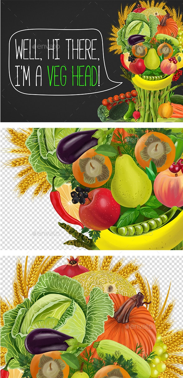 Colorful Face Made Of Fruits And Vegetables - Abstract Illustrations