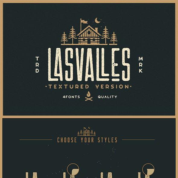 Las Valles Textured Condensed Typeface 4 Fonts