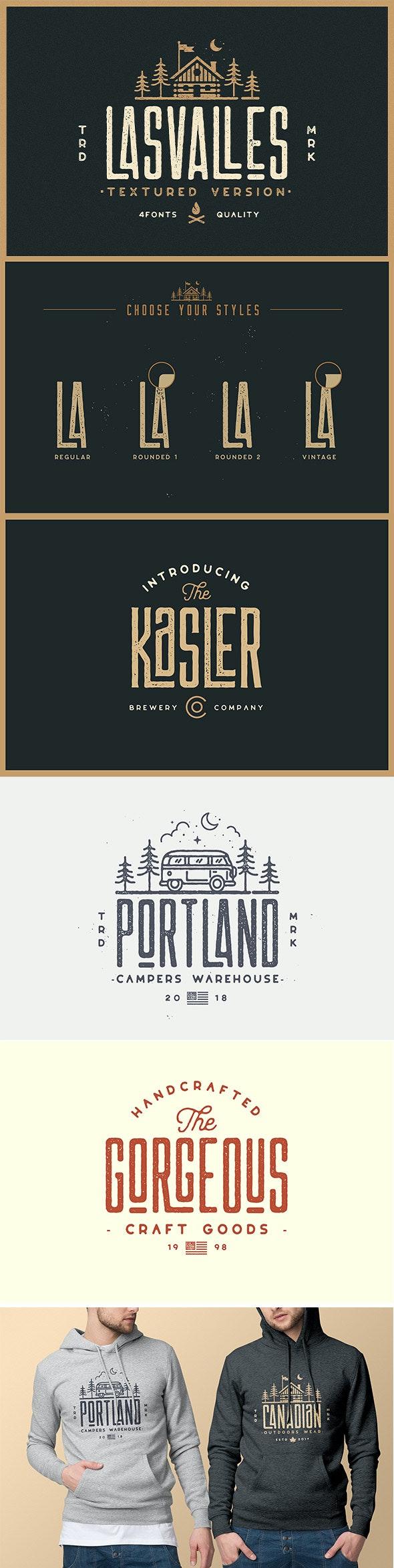 Las Valles Textured Condensed Typeface 4 Fonts - Condensed Sans-Serif