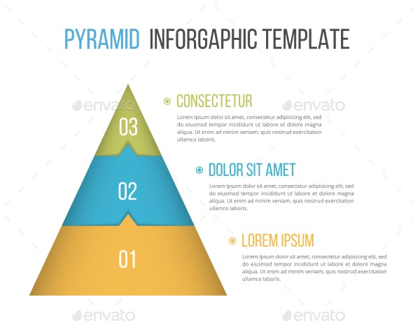 Pyramid with Three Elements - Infographics