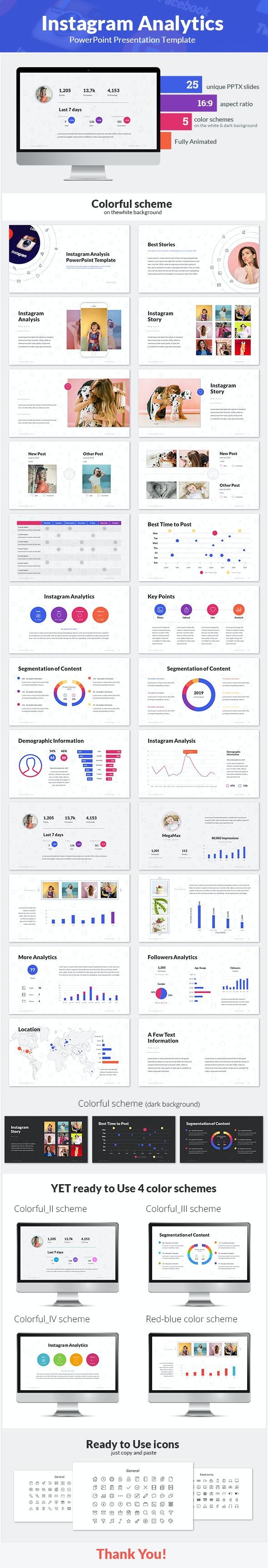 Instagram Analytics PowerPoint Presentation Template - PowerPoint Templates Presentation Templates