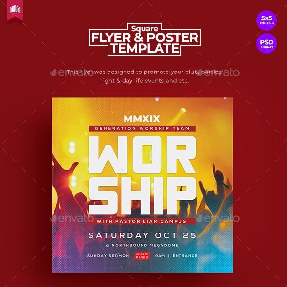Worship - Square Church Flyer