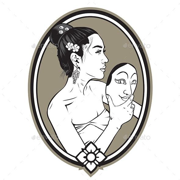 Girl Dance Mask - People Characters