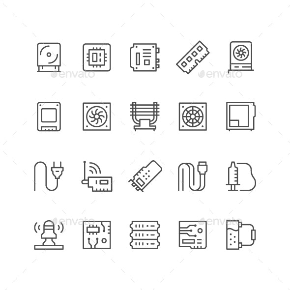 Set Line Icons of Computer Components - Man-made objects Objects