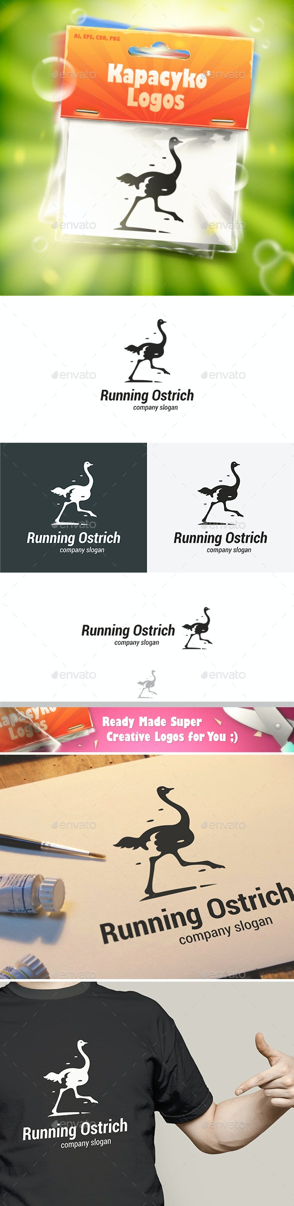 Running Ostrich Logo - Animals Logo Templates