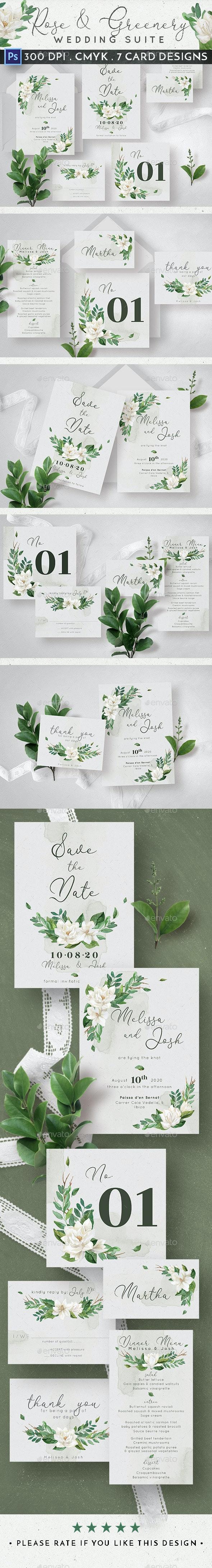 Rose & Greenery Wedding Suite - Weddings Cards & Invites