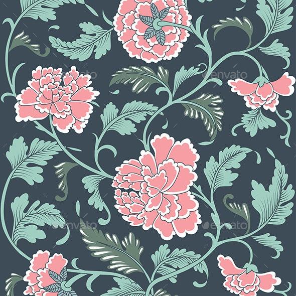 Asian Ornamental Colored Antique Floral Pattern - Backgrounds Decorative