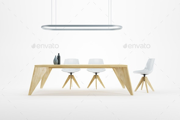 Minimalism Style Interior of Dining Room - Objects 3D Renders