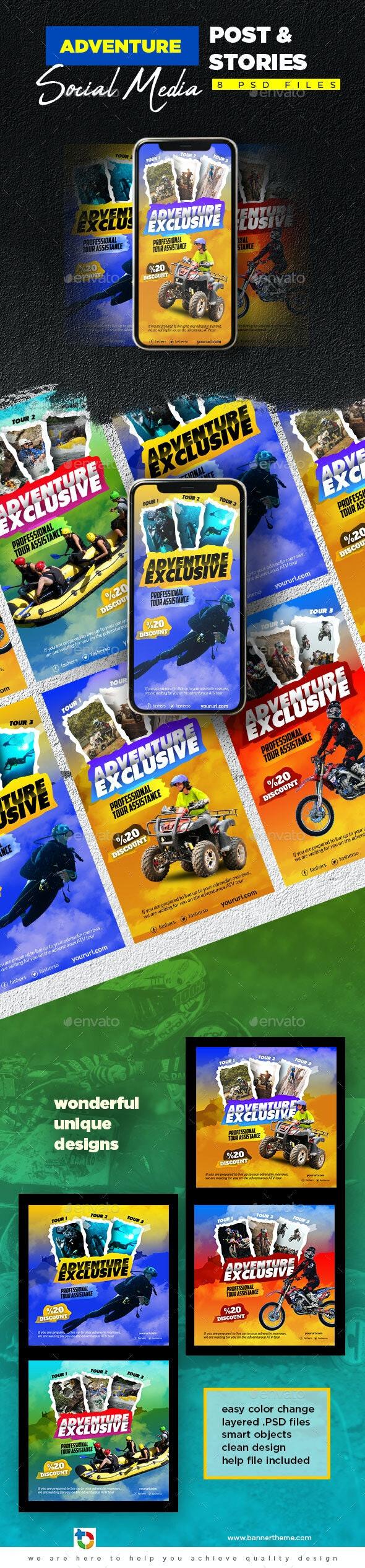 Adventure Social Media Post & Stories - Social Media Web Elements
